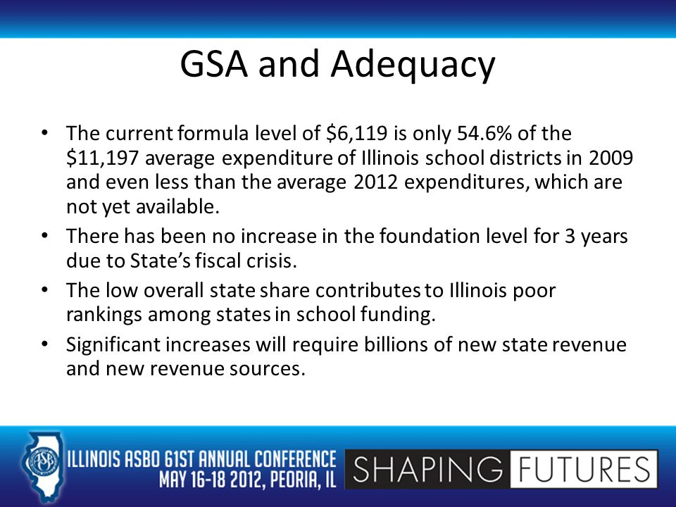 GSA and Adequacy The current formula level of $6,119 is only 54.6% of the $11,197 average expenditure of Illinois school districts in 2009 and even less than the average 2012 expenditures, which are not yet available.