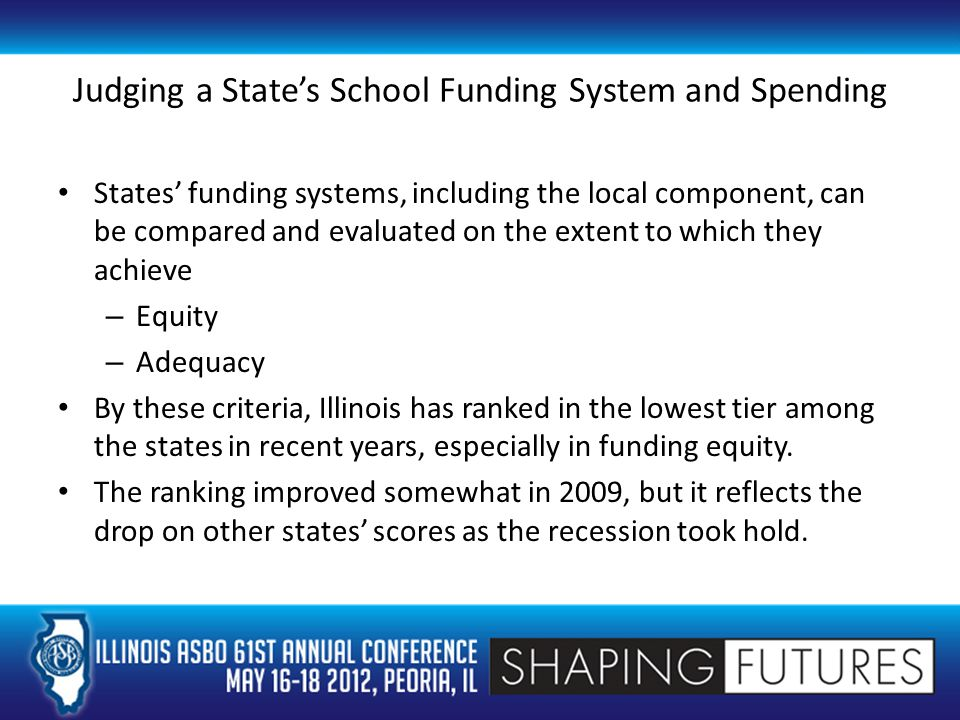 A Definition of Equity Equity in school funding is achieved when there is a fair and just means of distributing resources among all districts in a state, taking into account the differing abilities of districts to raise money through property taxes.