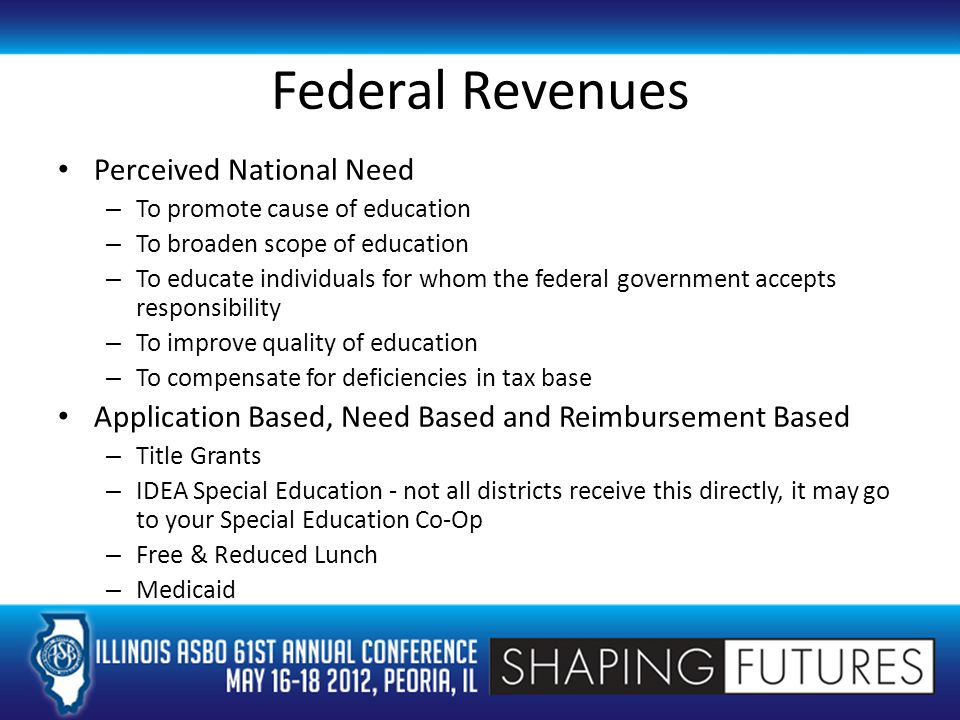 Federal Revenues Perceived National Need – To promote cause of education – To broaden scope of education – To educate individuals for whom the federal government accepts responsibility – To improve quality of education – To compensate for deficiencies in tax base Application Based, Need Based and Reimbursement Based – Title Grants – IDEA Special Education - not all districts receive this directly, it may go to your Special Education Co-Op – Free & Reduced Lunch – Medicaid