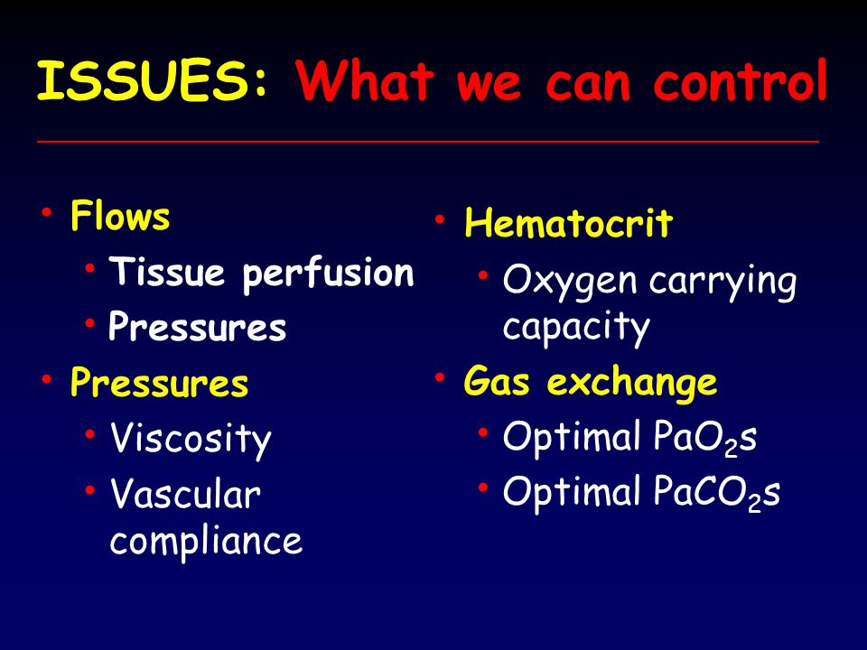 DO 2 (Oxygen delivery) versus Hct 3 3 ml/kg 2 2 ml/kg Through increasing DO 2 DO 2 with flow rate or hematocrit- VO 2 the VO 2 demand can be achieved.