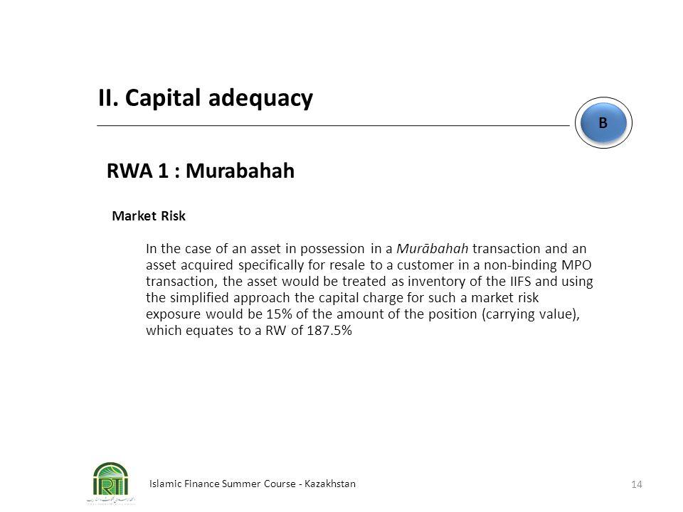 Islamic Finance Summer Course - Kazakhstan 14 B B II. Capital adequacy RWA 1 : Murabahah Market Risk In the case of an asset in possession in a Murāba