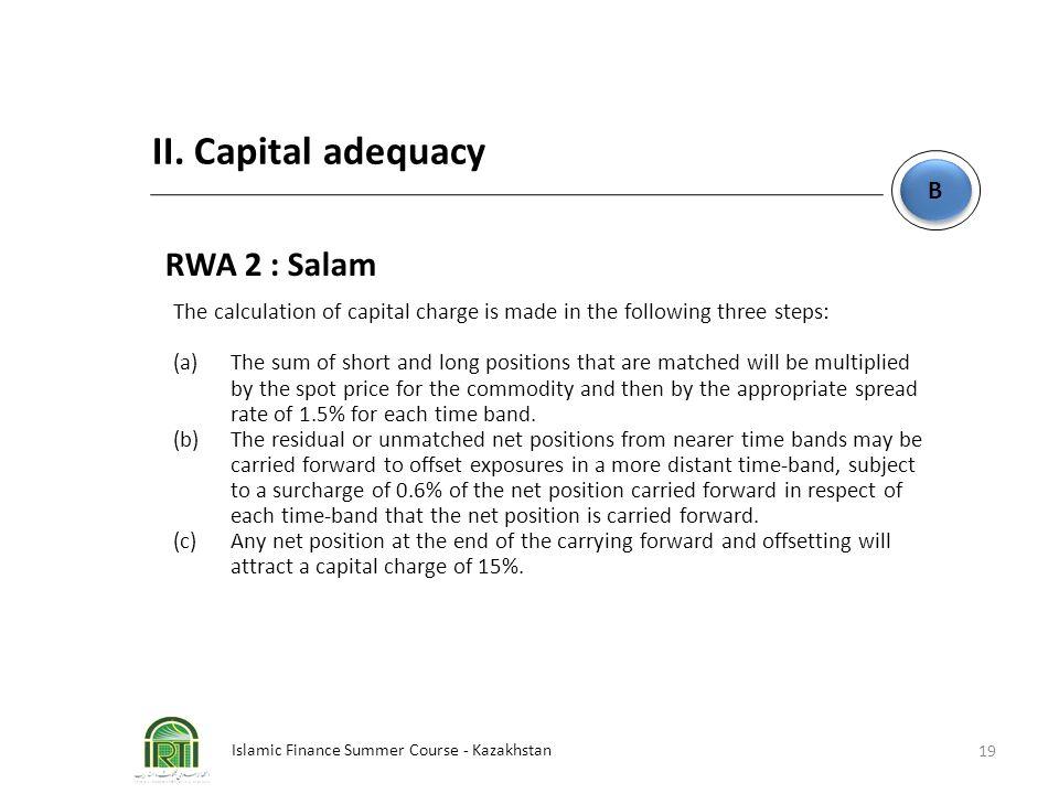 Islamic Finance Summer Course - Kazakhstan 19 B B II. Capital adequacy RWA 2 : Salam The calculation of capital charge is made in the following three