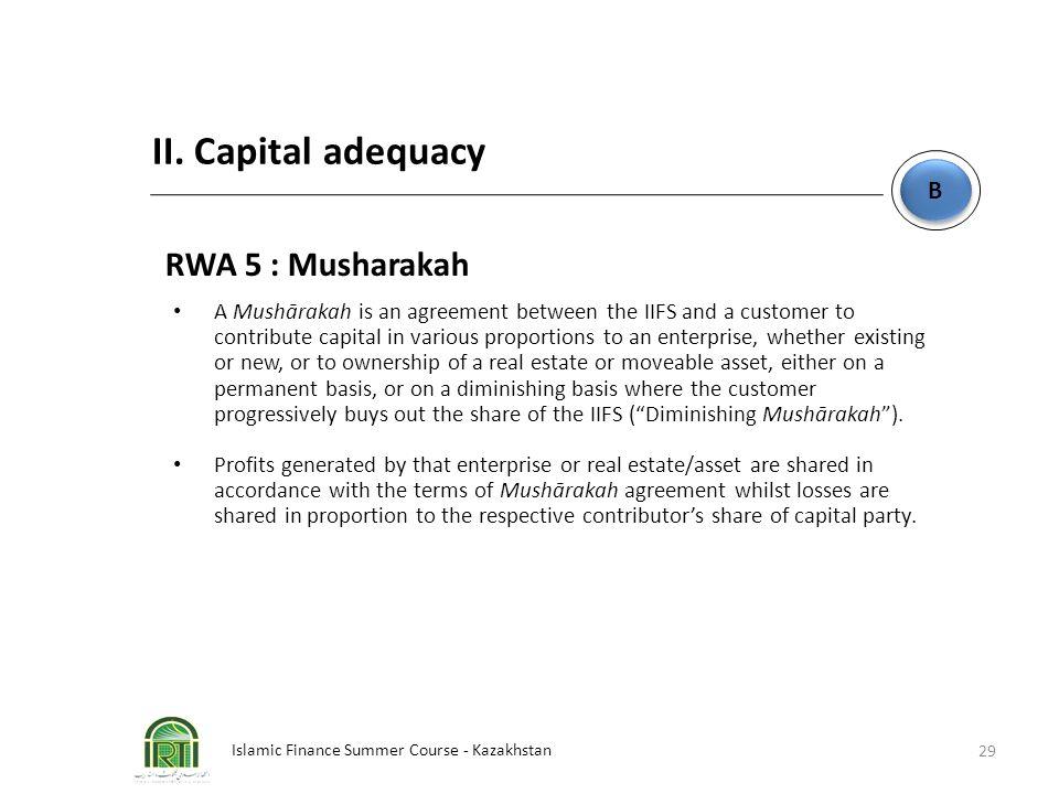 Islamic Finance Summer Course - Kazakhstan 29 B B II. Capital adequacy RWA 5 : Musharakah A Mushārakah is an agreement between the IIFS and a customer