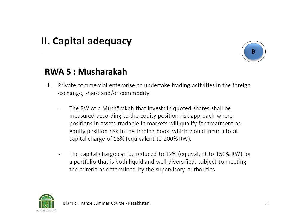 Islamic Finance Summer Course - Kazakhstan 31 B B II. Capital adequacy RWA 5 : Musharakah 1. Private commercial enterprise to undertake trading activi