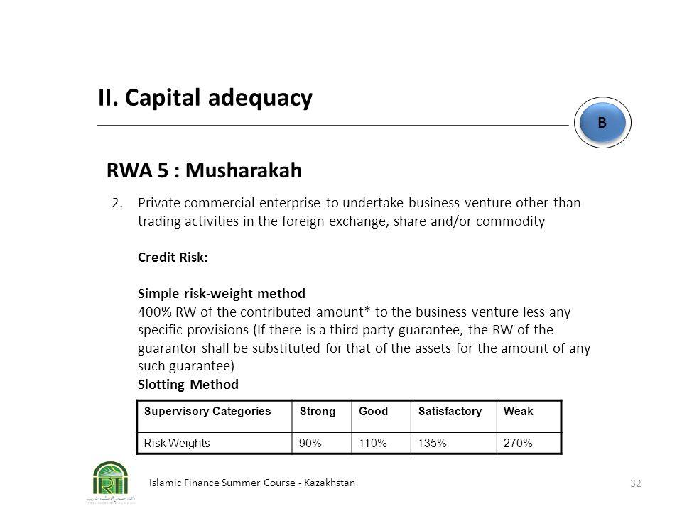 Islamic Finance Summer Course - Kazakhstan 32 B B II. Capital adequacy RWA 5 : Musharakah 2. Private commercial enterprise to undertake business ventu