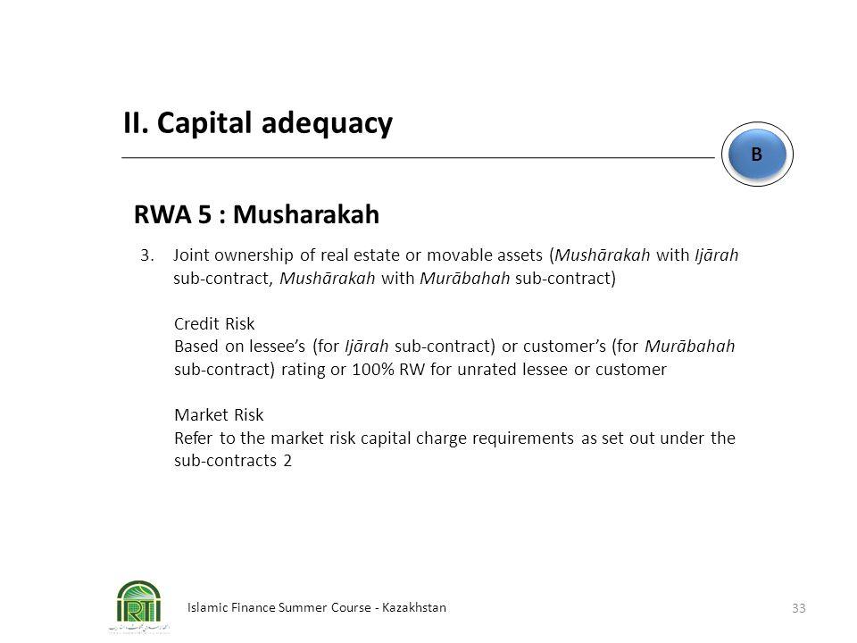 Islamic Finance Summer Course - Kazakhstan 33 B B II. Capital adequacy RWA 5 : Musharakah 3. Joint ownership of real estate or movable assets (Mushāra
