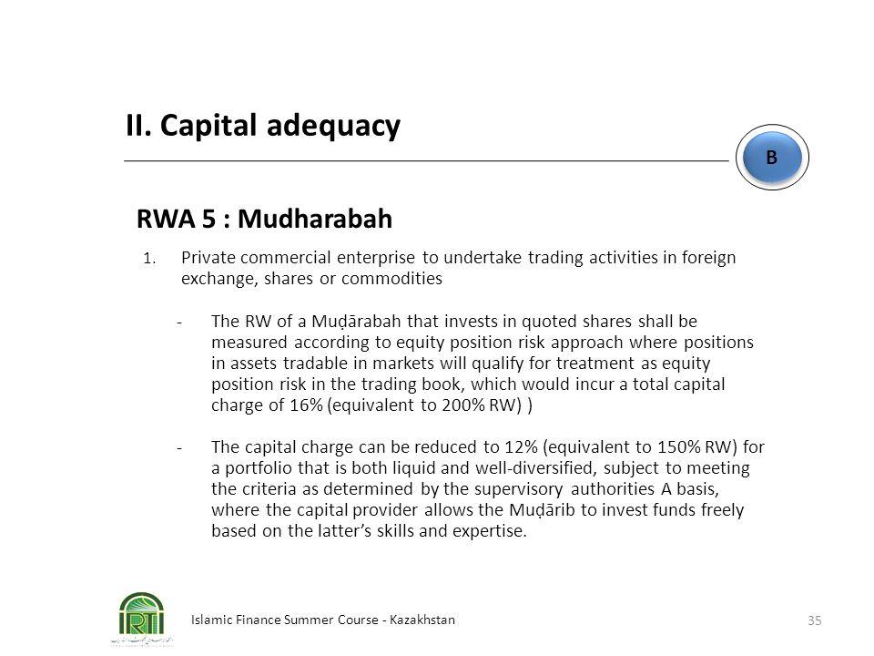 Islamic Finance Summer Course - Kazakhstan 35 B B II. Capital adequacy RWA 5 : Mudharabah 1. Private commercial enterprise to undertake trading activi