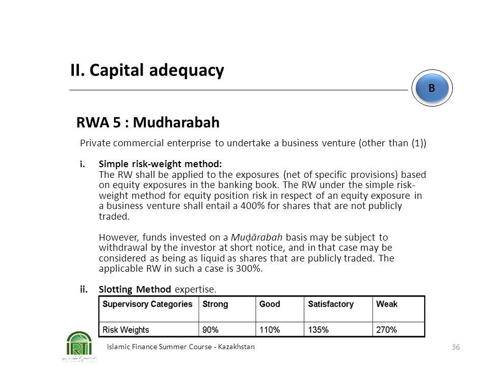 Islamic Finance Summer Course - Kazakhstan 36 B B II. Capital adequacy RWA 5 : Mudharabah Private commercial enterprise to undertake a business ventur