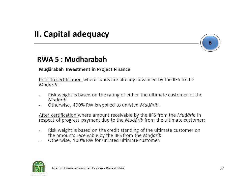 Islamic Finance Summer Course - Kazakhstan 37 B B II. Capital adequacy RWA 5 : Mudharabah Muḍārabah Investment in Project Finance Prior to certificati