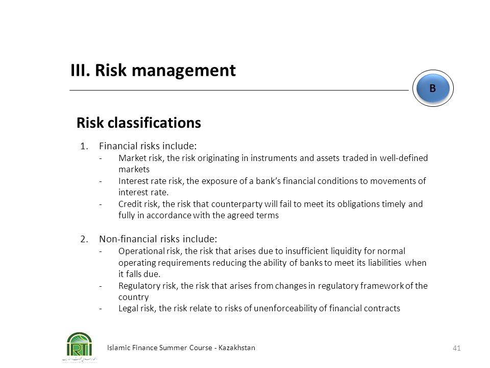 Islamic Finance Summer Course - Kazakhstan 41 B B III. Risk management Risk classifications 1.Financial risks include: -Market risk, the risk originat