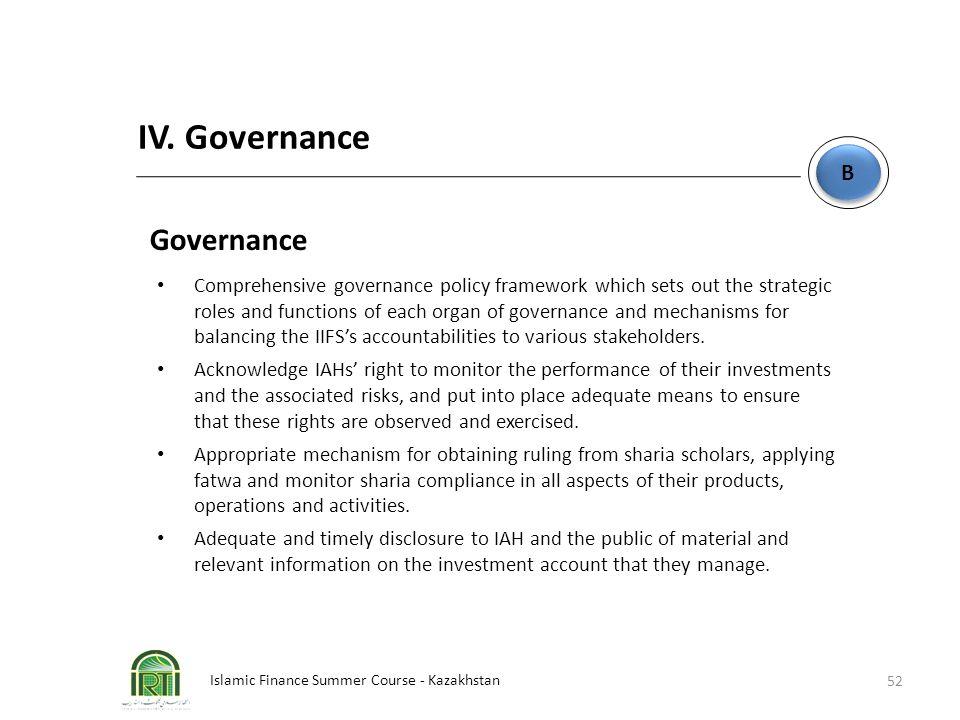 Islamic Finance Summer Course - Kazakhstan 52 B B IV. Governance Governance Comprehensive governance policy framework which sets out the strategic rol