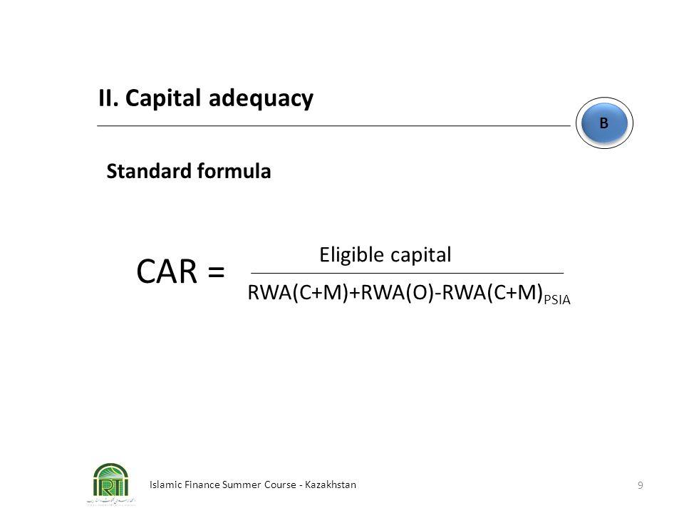 Islamic Finance Summer Course - Kazakhstan 9 B B II. Capital adequacy Standard formula Eligible capital RWA(C+M)+RWA(O)-RWA(C+M) PSIA CAR =