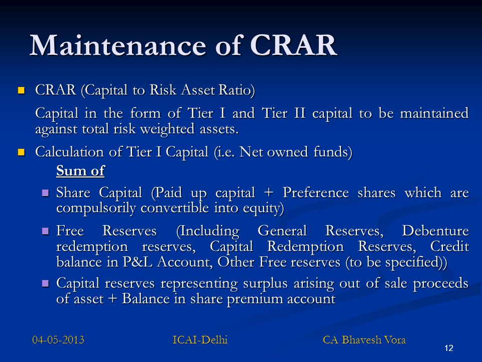 12 Maintenance of CRAR CRAR (Capital to Risk Asset Ratio) CRAR (Capital to Risk Asset Ratio) Capital in the form of Tier I and Tier II capital to be m