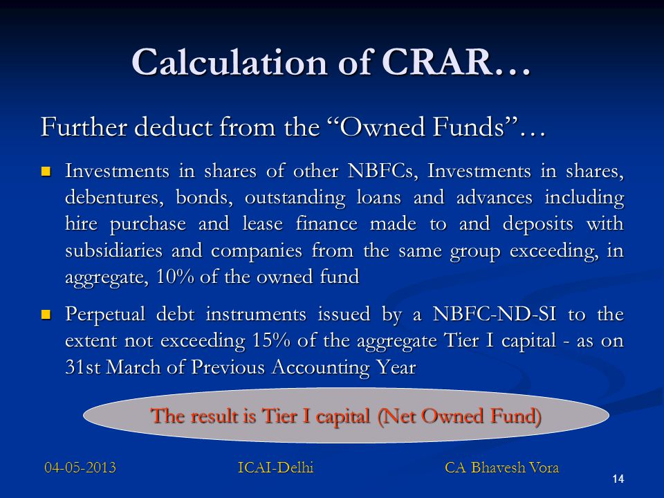 """14 Calculation of CRAR… Further deduct from the """"Owned Funds""""… Investments in shares of other NBFCs, Investments in shares, debentures, bonds, outstan"""