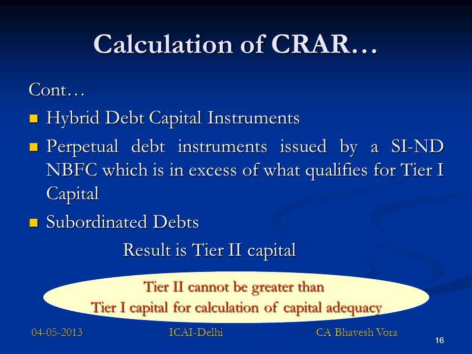 16 Calculation of CRAR… Cont… Hybrid Debt Capital Instruments Hybrid Debt Capital Instruments Perpetual debt instruments issued by a SI-ND NBFC which