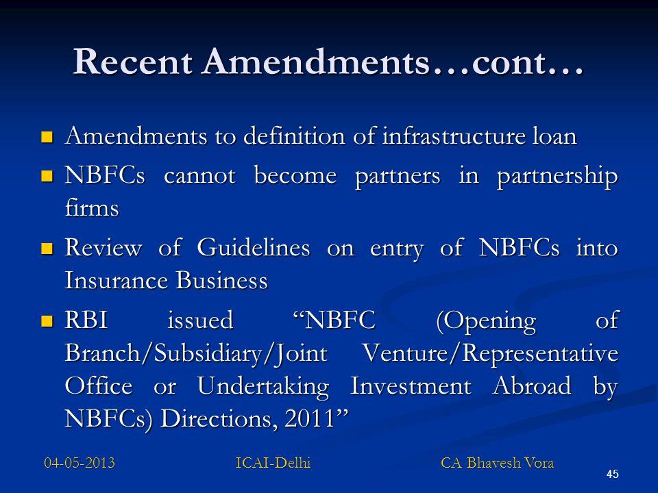 Recent Amendments…cont… Amendments to definition of infrastructure loan Amendments to definition of infrastructure loan NBFCs cannot become partners i