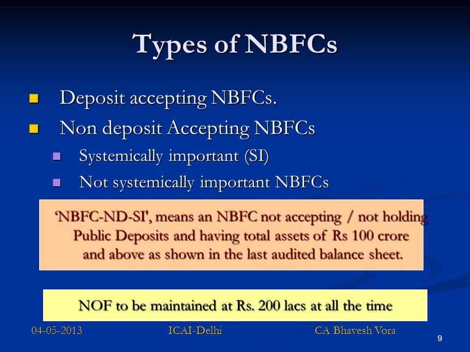 9 Types of NBFCs Deposit accepting NBFCs. Deposit accepting NBFCs. Non deposit Accepting NBFCs Non deposit Accepting NBFCs Systemically important (SI)