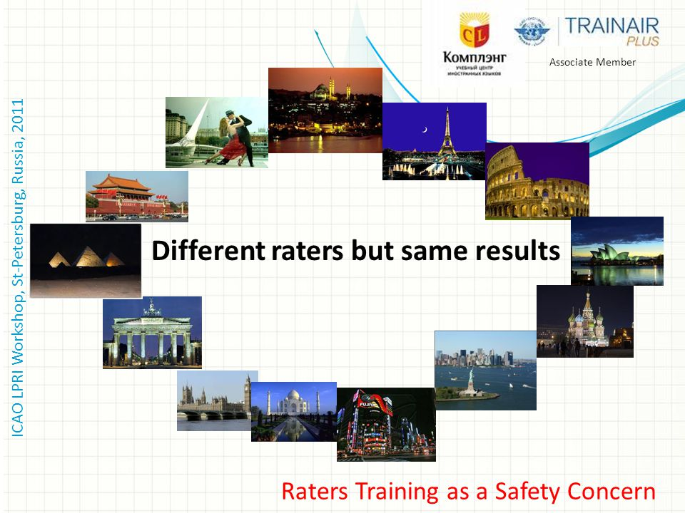 ICAO LPRI Workshop, St-Petersburg, Russia, 2011 Associate Member Raters Training as a Safety Concern Different raters but same results