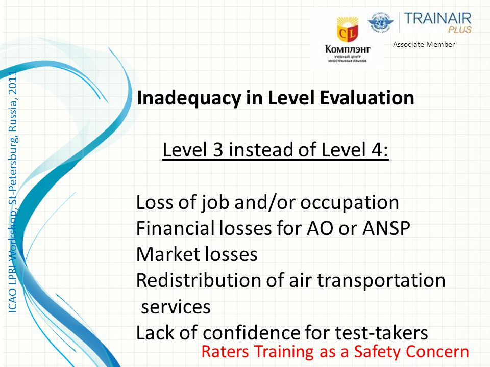 ICAO LPRI Workshop, St-Petersburg, Russia, 2011 Raters Training as a Safety Concern Associate Member Inadequacy in Level Evaluation Level 3 instead of Level 4: Loss of job and/or occupation Financial losses for AO or ANSP Market losses Redistribution of air transportation services Lack of confidence for test-takers