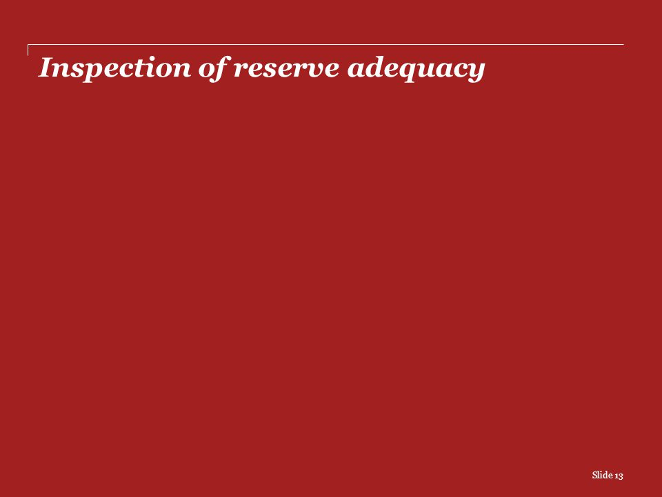 Inspection of reserve adequacy Slide 13