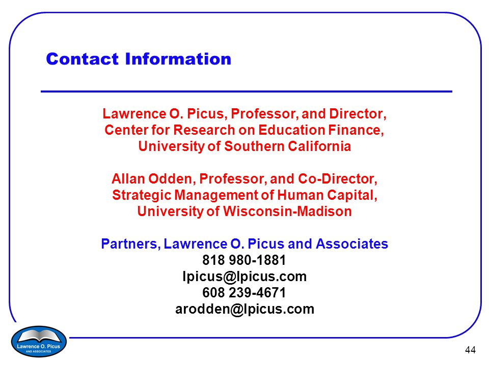44 Contact Information Lawrence O.