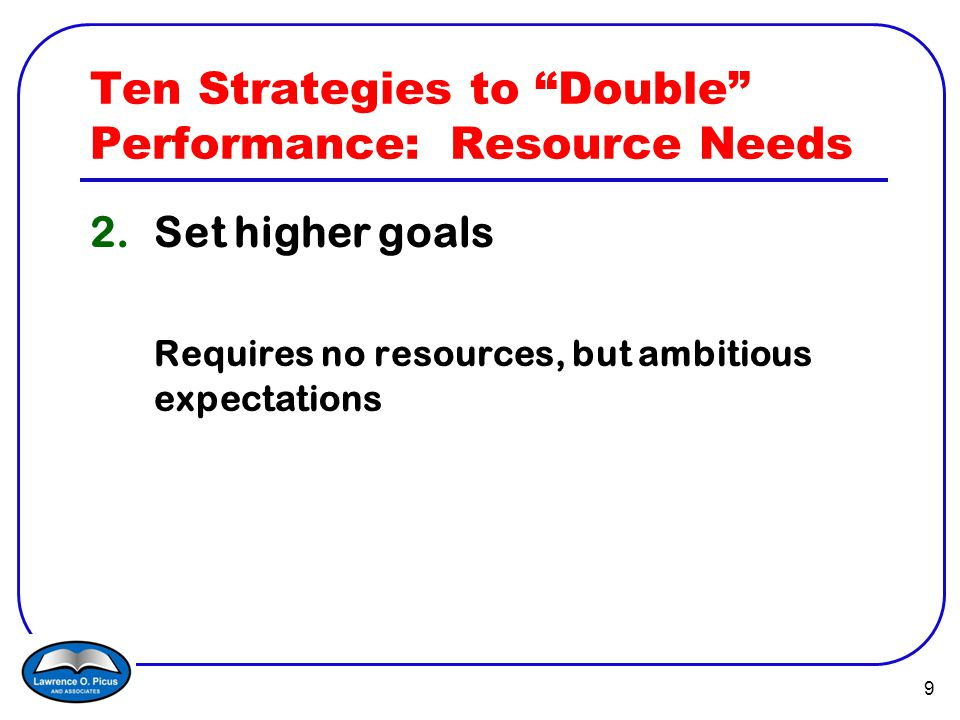 10 Ten Strategies to Double Performance 3.Adopt a new research-based curriculum New textbook materials Open Court reading Everyday Math Others What Works Clearinghouse, Best Evidence Encyclopedia (BEE: www.bestevidence.org)www.bestevidence.org Over time, a vision of effective instruction or pedagogy aligned with the new instructional materials The 9 elements of effective reading instruction Problem solving in mathematics No more general math classes, algebra by 8 th grade, etc.