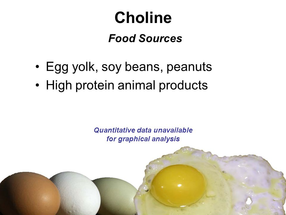 Choline Food Sources Egg yolk, soy beans, peanuts High protein animal products Quantitative data unavailable for graphical analysis