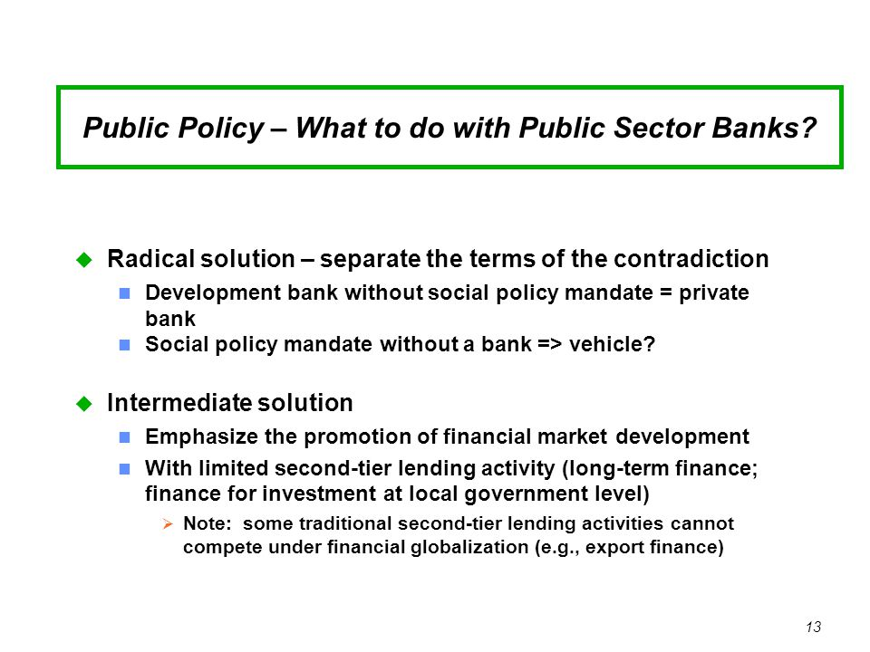 13 Public Policy – What to do with Public Sector Banks.