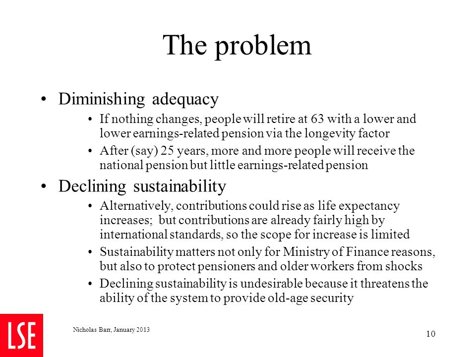 The problem Diminishing adequacy If nothing changes, people will retire at 63 with a lower and lower earnings-related pension via the longevity factor