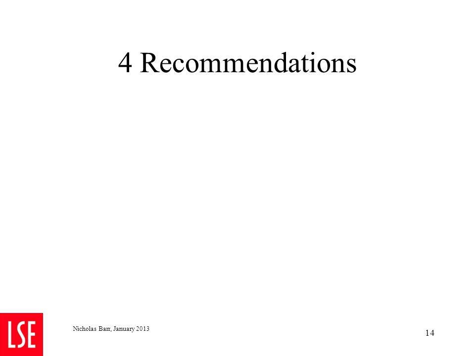 4 Recommendations Nicholas Barr, January 2013 14