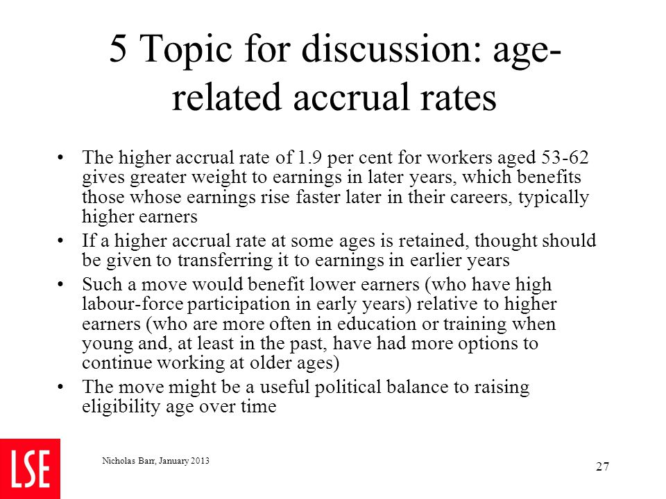 5 Topic for discussion: age- related accrual rates The higher accrual rate of 1.9 per cent for workers aged 53-62 gives greater weight to earnings in
