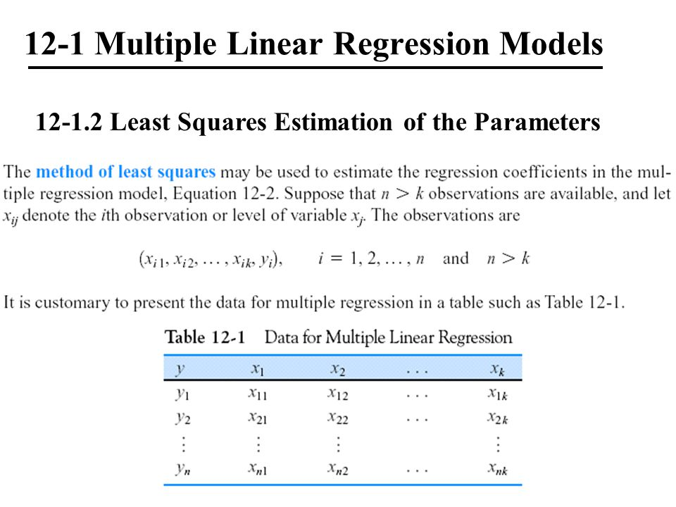 12-1 Multiple Linear Regression Models 12-1.2 Least Squares Estimation of the Parameters