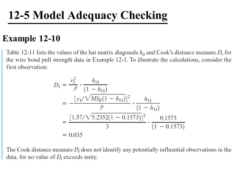 12-5 Model Adequacy Checking Example 12-10