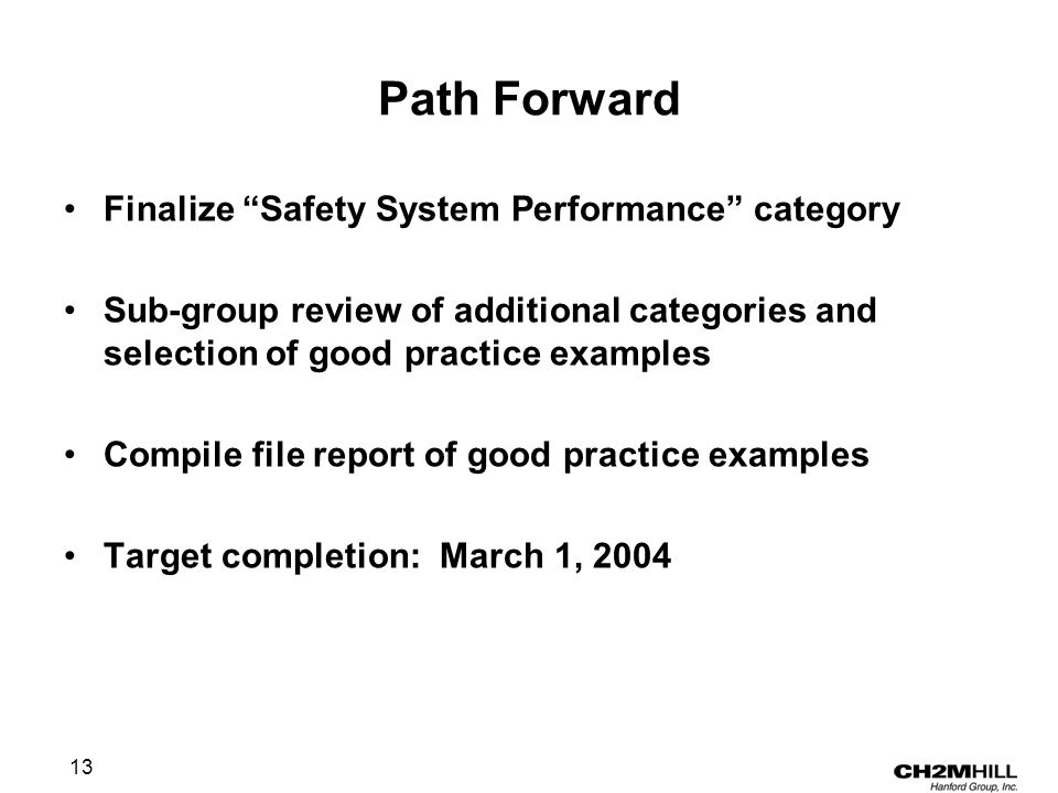 13 Path Forward Finalize Safety System Performance category Sub-group review of additional categories and selection of good practice examples Compile file report of good practice examples Target completion: March 1, 2004