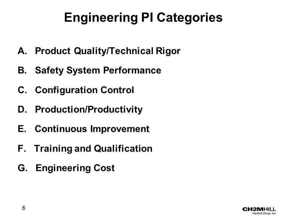 6 Engineering PI Categories A. Product Quality/Technical Rigor B.