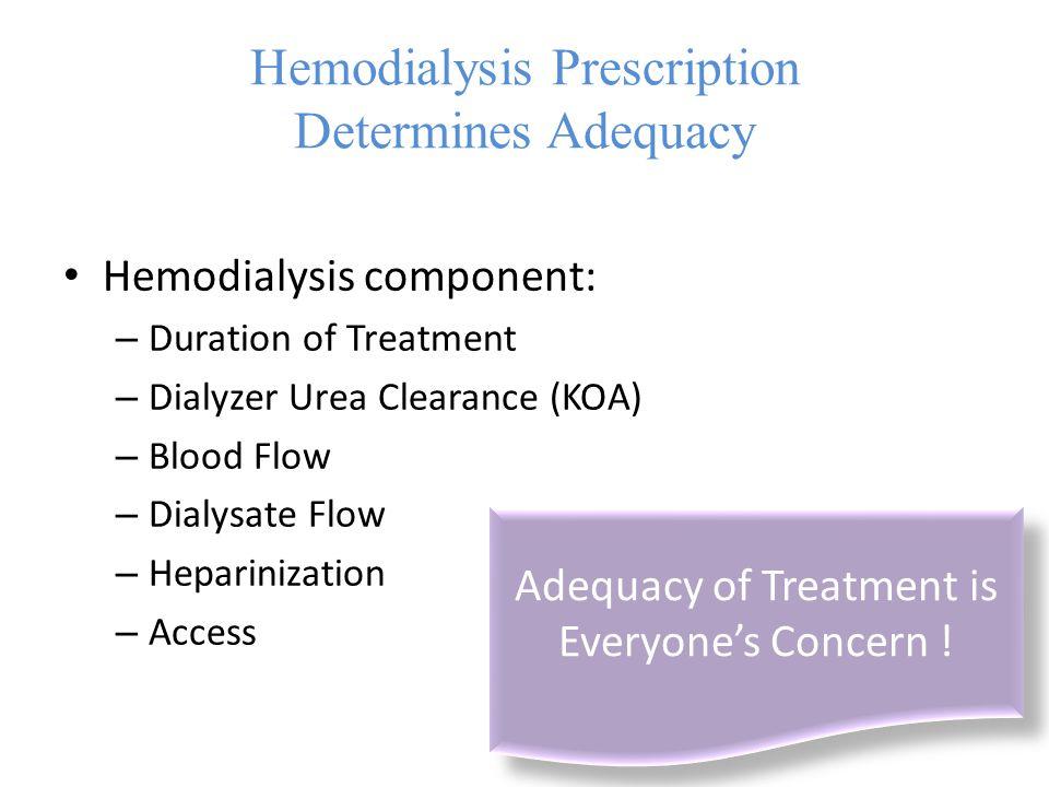 Hemodialysis Prescription Determines Adequacy Hemodialysis component: – Duration of Treatment – Dialyzer Urea Clearance (KOA) – Blood Flow – Dialysate