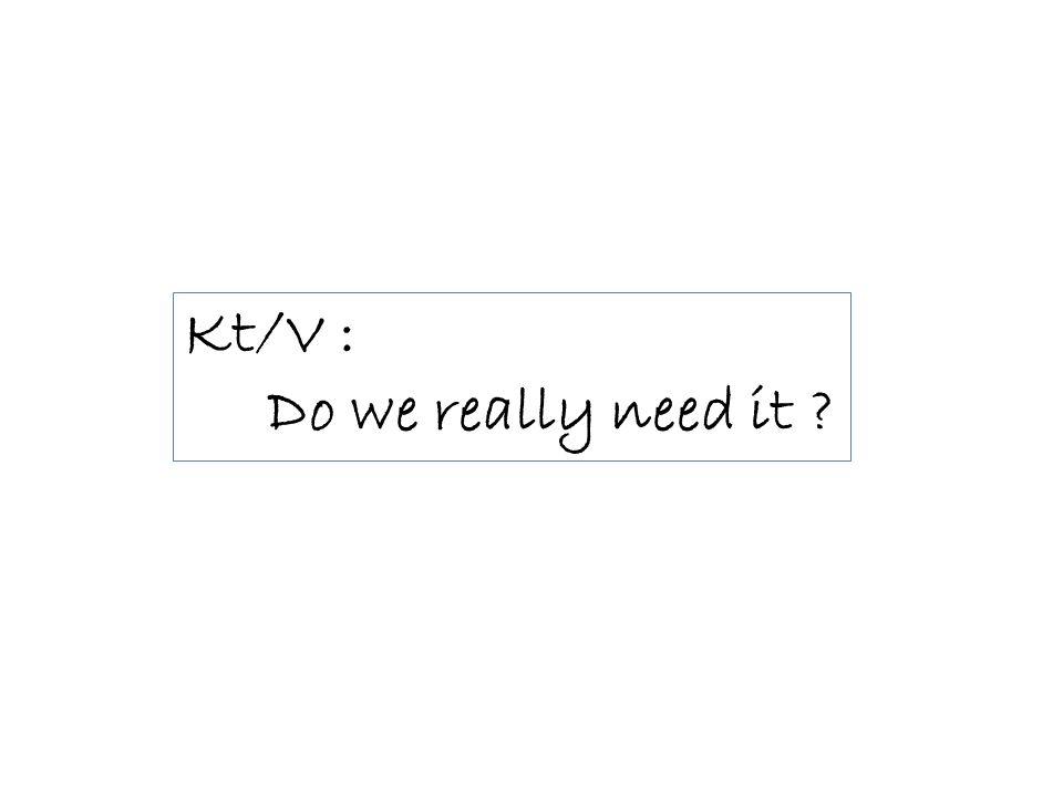 Kt/V : Do we really need it ?