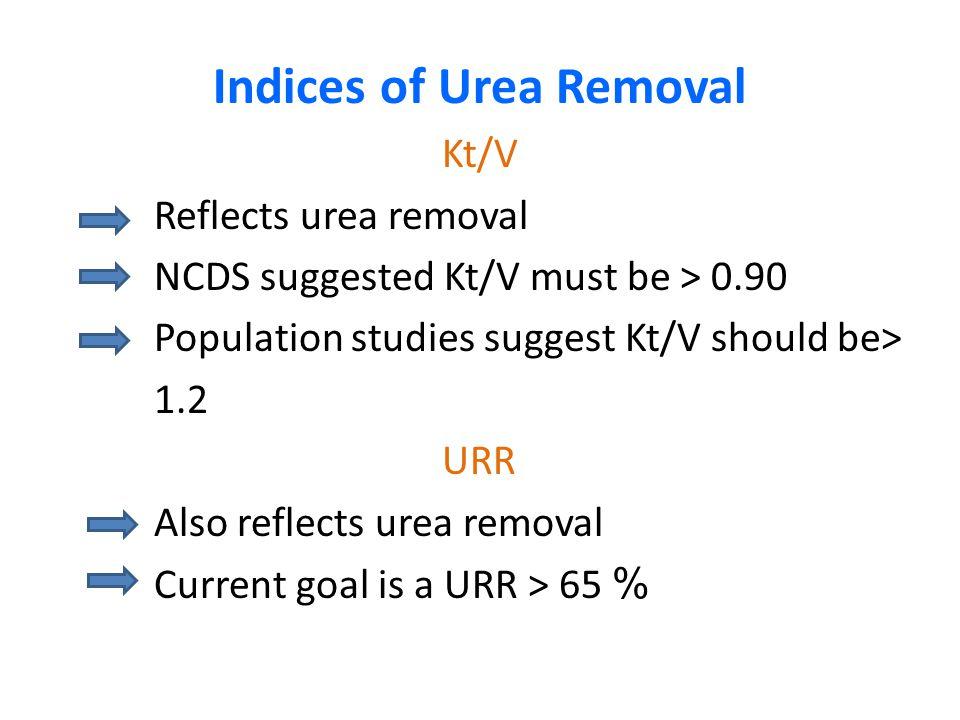 Indices of Urea Removal Kt/V Reflects urea removal NCDS suggested Kt/V must be > 0.90 Population studies suggest Kt/V should be> 1.2 URR Also reflects