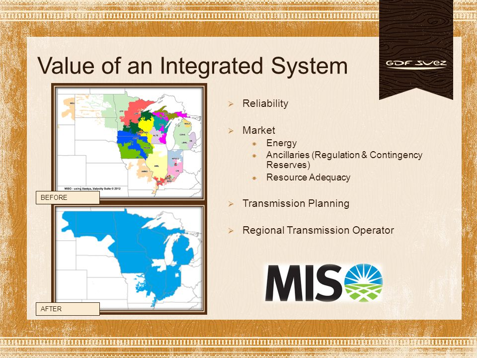 MISO Evolution  By the numbers:  Participants 362  Generation 132,296 MW  Peak Load 98,576 MW  Transmission 49,670 miles  Annual Settlements $18.4 billion charges