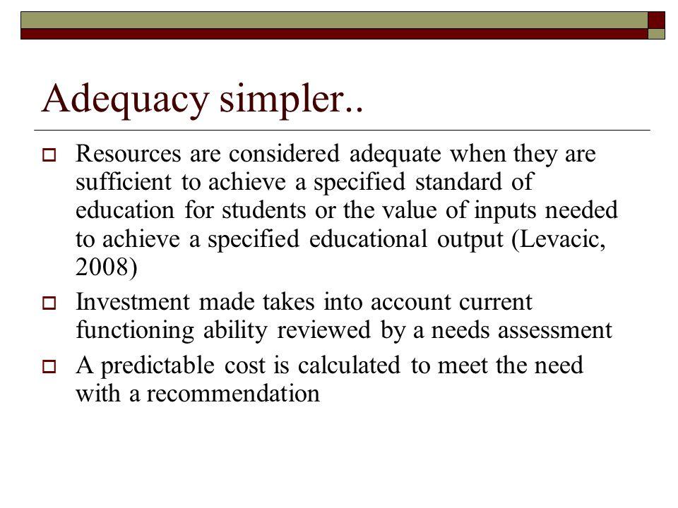 Adequacy simpler..