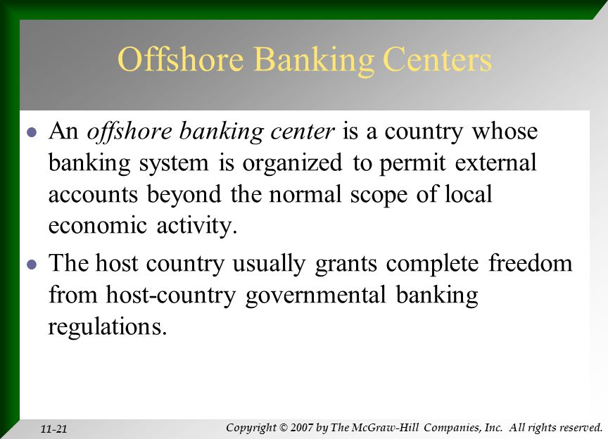 Copyright © 2007 by The McGraw-Hill Companies, Inc. All rights reserved. 11-21 Offshore Banking Centers An offshore banking center is a country whose