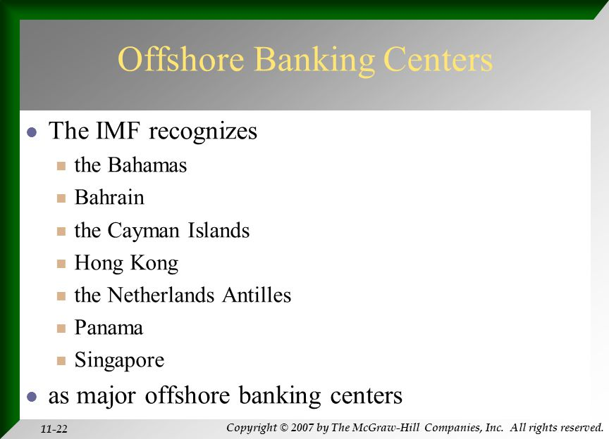 Copyright © 2007 by The McGraw-Hill Companies, Inc. All rights reserved. 11-22 Offshore Banking Centers The IMF recognizes the Bahamas Bahrain the Cay