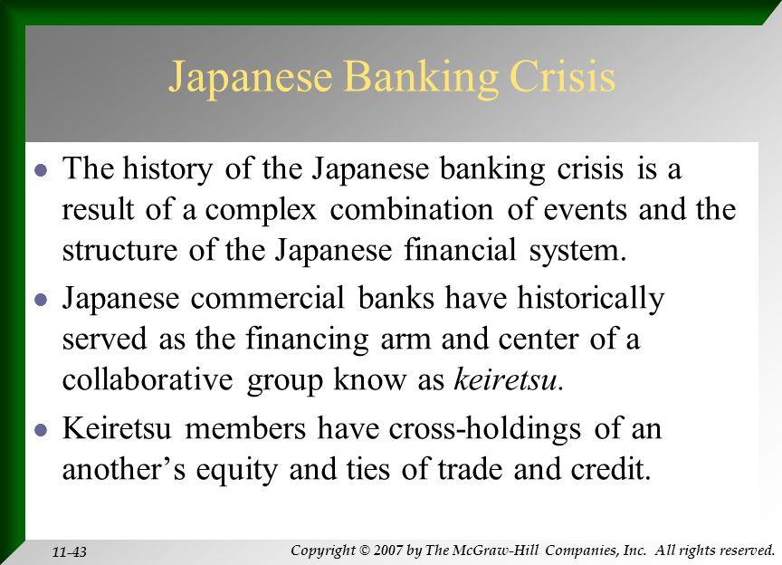 Copyright © 2007 by The McGraw-Hill Companies, Inc. All rights reserved. 11-43 Japanese Banking Crisis The history of the Japanese banking crisis is a