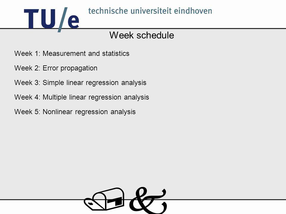 /k Week schedule Week 1: Measurement and statistics Week 2: Error propagation Week 3: Simple linear regression analysis Week 4: Multiple linear regression analysis Week 5: Nonlinear regression analysis
