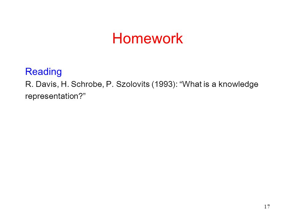 17 Homework Reading R. Davis, H. Schrobe, P.
