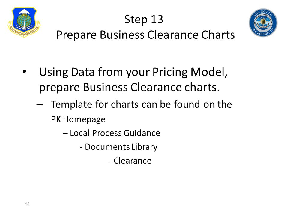 Step 13 Prepare Business Clearance Charts Using Data from your Pricing Model, prepare Business Clearance charts. – Template for charts can be found on