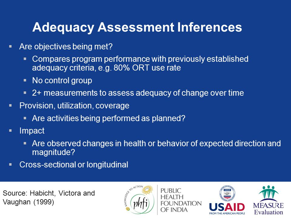 Adequacy Assessment Inferences  Are objectives being met.