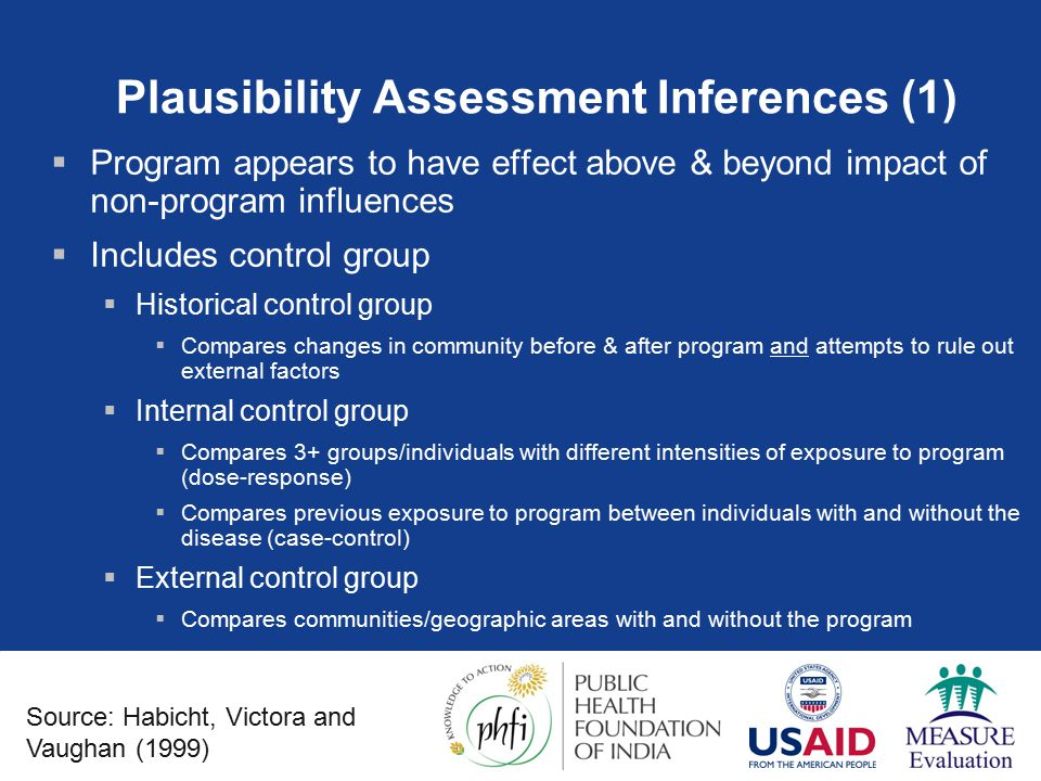 Plausibility Assessment Inferences (1)  Program appears to have effect above & beyond impact of non-program influences  Includes control group  Historical control group  Compares changes in community before & after program and attempts to rule out external factors  Internal control group  Compares 3+ groups/individuals with different intensities of exposure to program (dose-response)  Compares previous exposure to program between individuals with and without the disease (case-control)  External control group  Compares communities/geographic areas with and without the program Source: Habicht, Victora and Vaughan (1999)
