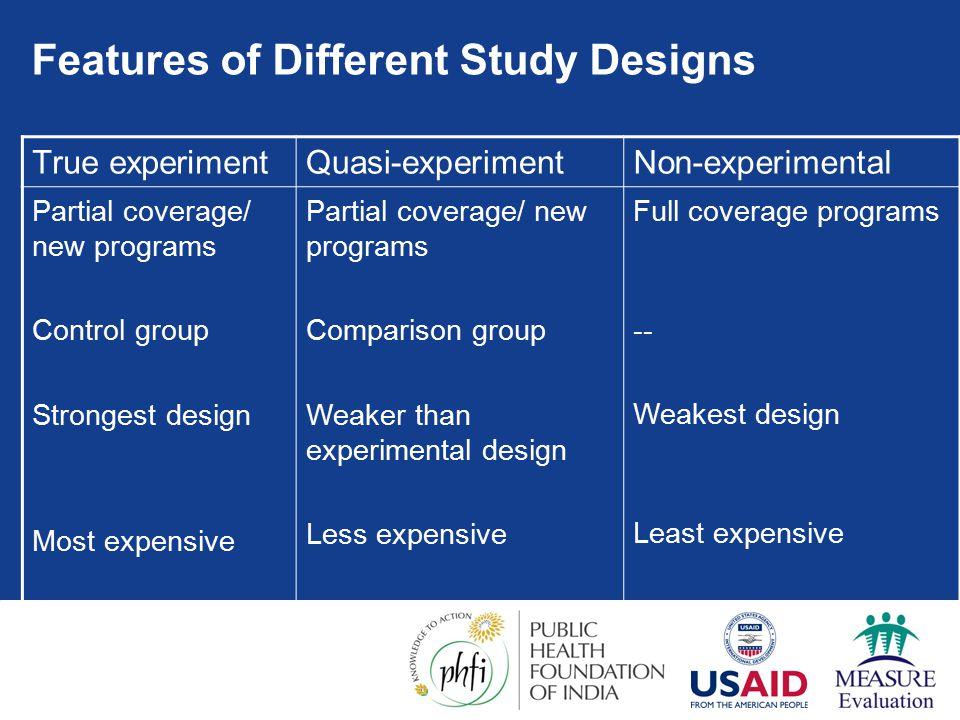 Features of Different Study Designs True experimentQuasi-experimentNon-experimental Partial coverage/ new programs Control group Strongest design Most