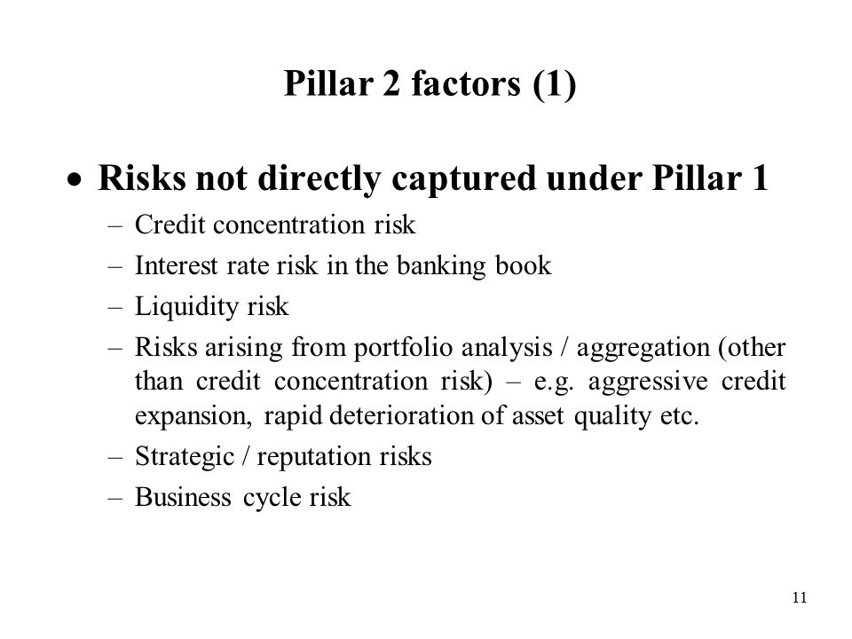 11 Pillar 2 factors (1)  Risks not directly captured under Pillar 1 –Credit concentration risk –Interest rate risk in the banking book –Liquidity risk –Risks arising from portfolio analysis / aggregation (other than credit concentration risk) – e.g.